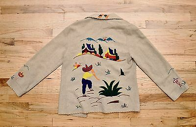 Vintage Anahuac 1950s  Mexican Embroidered Tourist Souvenir Jacket S/M