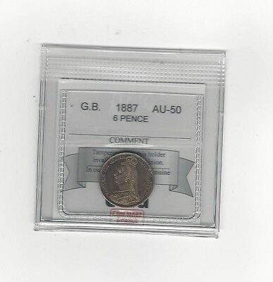 **1887 JEB**Great Britain, 6 Pence, Coin Mart Graded **AU-50**