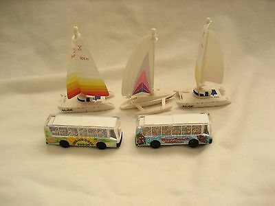 Lot of 3  Ferrero Germany made Boats and 2 bus toys