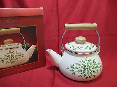 Lenox 2 Qt Holiday Tea Kettle with Wooden Handle