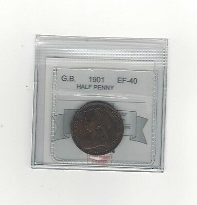 **1901**Great Britain, Half Penny, Coin Mart Graded **EF-40**