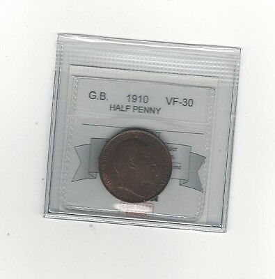 **1910**Great Britain, Half Penny, Coin Mart Graded **VF-30**