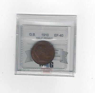 **1910**Great Britain, Half Penny, Coin Mart Graded **EF-40**