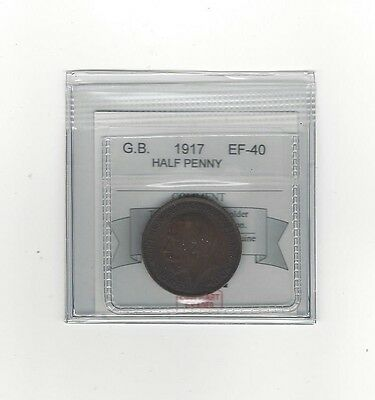 **1917**Great Britain, Half Penny, Coin Mart Graded **EF-40**