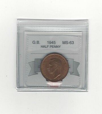 **1945**Great Britain, Half Penny, Coin Mart Graded **MS-63**