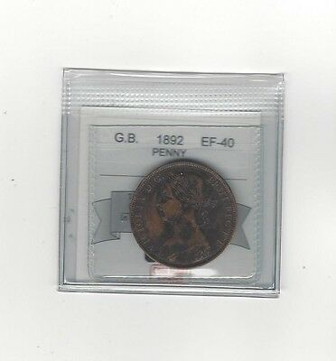 **1892**Great Britain, One Penny, Coin Mart Graded **EF-40**