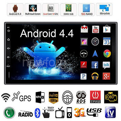 """Quad Core Android 4.4 3G WIFI 7"""" Double 2DIN Car Radio Stereo MP5 Player GPS Nav"""
