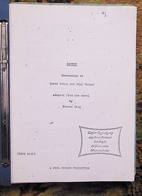 1974 CARRIE - ORIGINAL FIRST DRAFT SCREENPLAY of STEPHEN KING'S FIRST BOOK Rare