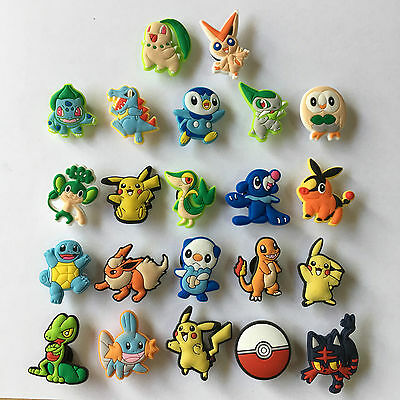 22-100pcs Pokemon Pikachu PVC Shoe Charms Accessories for Bracelet kidsgifts