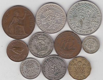1938 George Vi Set Of 10 Coins In Very Fine Or Better Condition