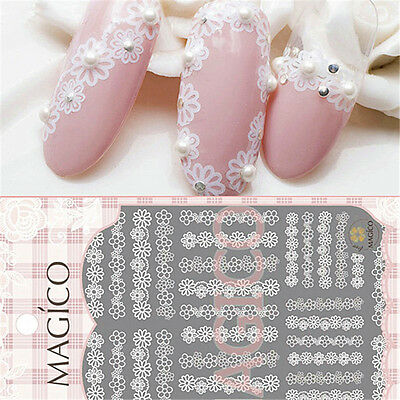 1 Pc 3D Nail Art Lace Sticker White Flower Pattern Manicure Decal Tips DIY