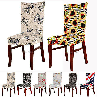Removable Chair Cover Spandex Wedding Banquet Dining Room Short Floral Slipcover