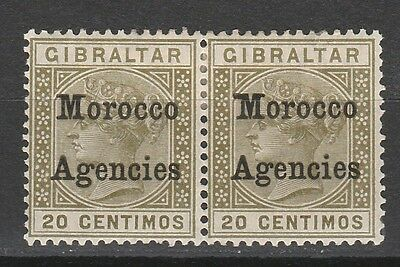 Morocco Agencies 1899 Qv 20C Pair Variety Broad Top To M