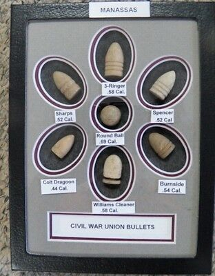 "Nice Starter Set Of Excavated Matted Yankee Civil War Bullets In 6X8"" Riker Case"