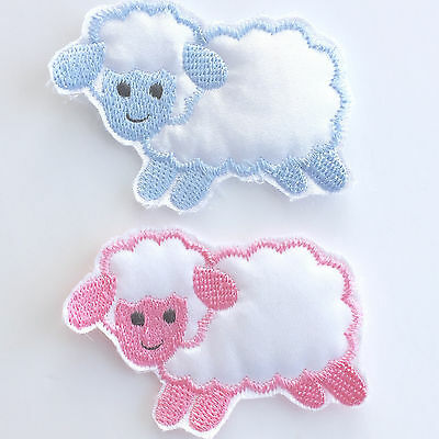 Sheep Motif, sew on, blue or pink colour 7cm x 5cm for craft / applique