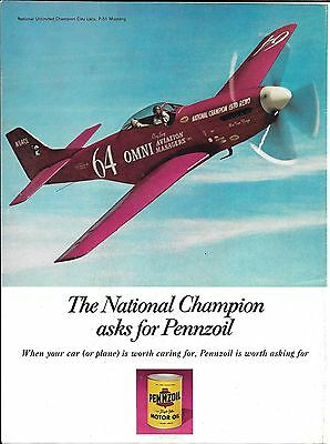 1971 Pennzoil P-51 Mustang Plane Clay Lacy National Champion Ad