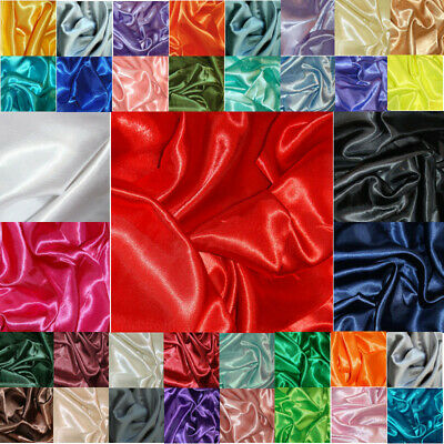 Silky Satin Fabric Plain Dress Material 150cm Wide Wedding Prom Cosplay Evening.