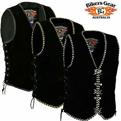 Men's Motorcycle Harley Style Spanish Braid Suede Vest with Clips Size S - 7XL