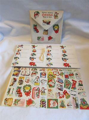 New Old Stock 1940's Christmas Gummed Seals & Strung Tags IOP Santa Angels