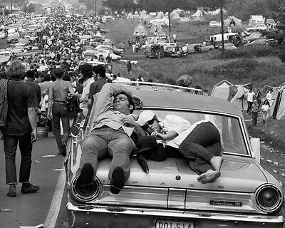 Woodstock cars and festival revellers 8x10 Photo