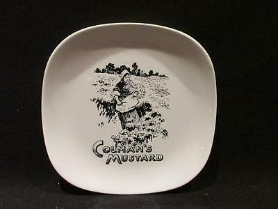 """Colman's Mustard Vintage Lord Nelson Pottery Round-Edged 5"""" White Black Pin Dish"""