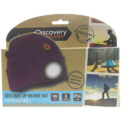 Summit LED Light Up Torch Cycling Bike Sports Camping Travel Purple Beanie Hat