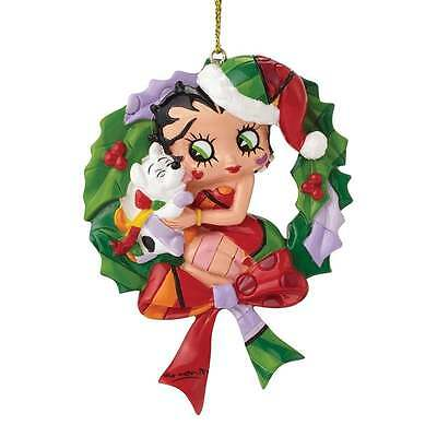 Romero Britto Betty Boop And Pudgy Dog Wreath Hanging Ornament New 4046449