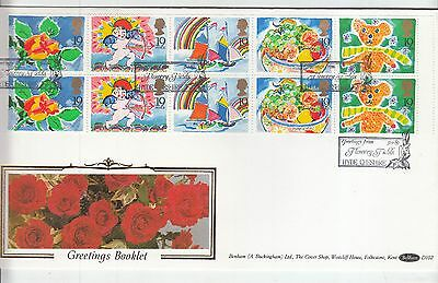 1989 GREETINGS Booklet Pane First Day Cover BENHAM D102