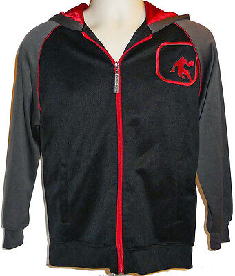 Boys Jacket Black Gray Red And1 Basketball Warmup Hoodie Zipped And 1 Large Lg L