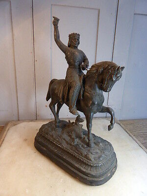 Antique French spelter historical figure on horse on wooden base