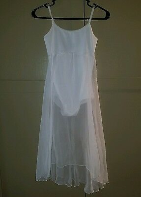NWT Body Wrappers Lyrical Dance Dress White Skirted Cami Leotard Ladies S 7799