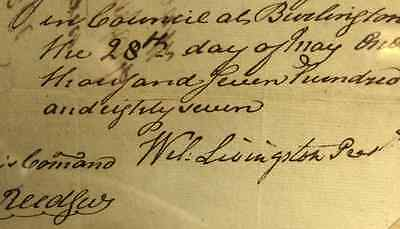 Antique Document signed by William Livingston to Pay David Brearly c May 1787