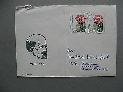 GERMANY DDR, cover 1985, pair flower cactus