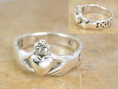 UNIQUE STERLING SILVER CELTIC KNOT CLADDAGH RING size 6  style# r1082