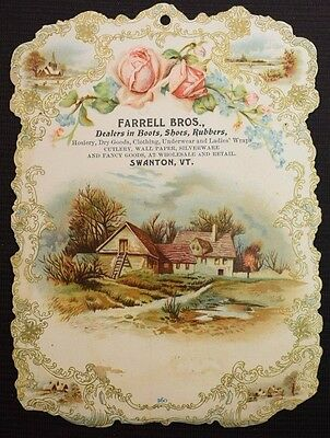 Antique Farrell Bros Boots Shoes Rubbers Swanton VT Die Cut Trade Card