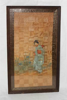 Antique Vintage Japanese Painting Or Wood Block On Woven Rice Paper Geisha Girl