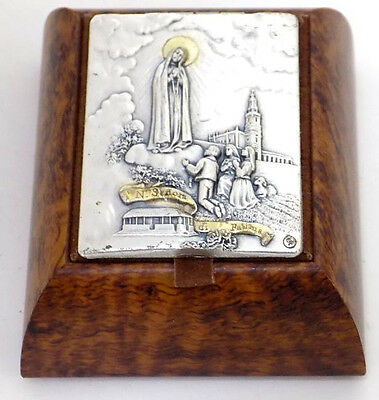Small Wood Rosary Box Our Lady of Fatima Portugal Embossed Metal Top Leather Int