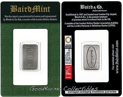 *Rhodium Bar 1/10 oz Baird & Co London .999 Pure Rh - RAREST PRECIOUS METAL*
