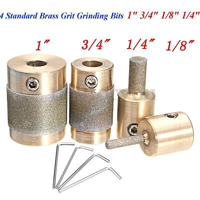 """4 Standard Brass Grit Grinding Bits 1"""" 3/4"""" 1/8"""" 1/4"""" for Inland Stained Glass"""
