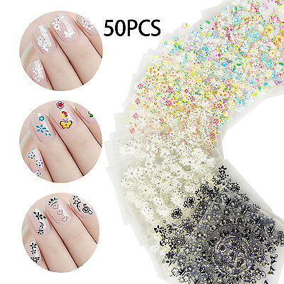 50 X Sheets 3D Design Nail Art Manicure Stickers Tips Decal Flower Beautiful DIY