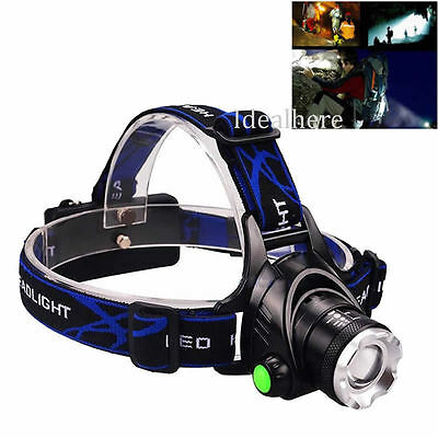 5000Lm Rechargeable XM-L T6 LED 2X 18650 Zoomable Headlamp Headlight Head Torch