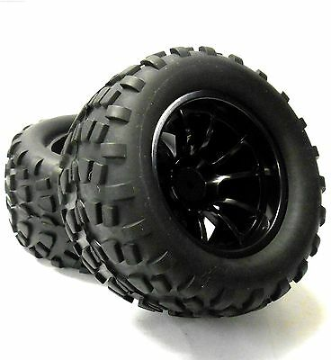 08071BK 1/10 Scale Off Road Monster Truck Tyre Wheel Rim Black HSP x 2 Plastic
