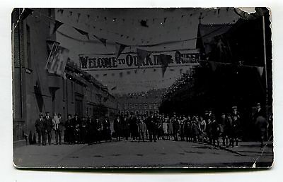 Unknown street - royal visit - old real photo postcard