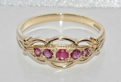 9ct Yellow Gold Natural Ruby 5 Stone Ladies Ring - size O