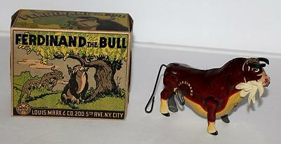 """Nm! Boxed Set:disney1938""""ferdinand The Bull""""lithographed Tin Wind-Up Toy By Marx"""