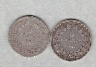 France 1833W Silver 5 Francs In A Used Fine Condition