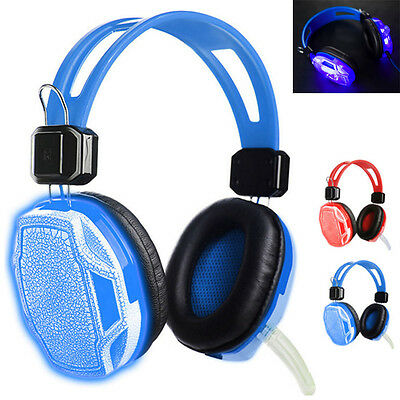 New USB 3.5mm LED Gaming Headset Headband Headphone with Mic for PC Computer LOT