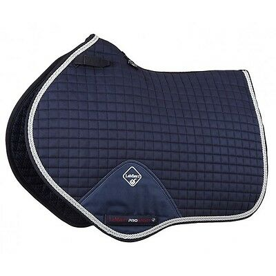 LEMIEUX PROSPORT SUEDE CLOSE CONTACT SQUARE WITH BINDING NAVY/SILVER saddle pad
