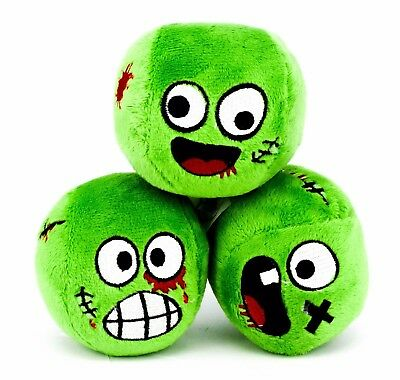 3 Zombie Juggling Balls with Groaning Sounds Green Zombie Heads Novelty Gift