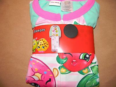New Girls Shopkins 1 piece flannel sleeper pajamas  6/6x 7/8 10/12